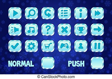 Christmas square Buttons for mobile or computer game design. Normal and Push button.