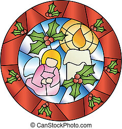 Christmas stained glass decoration - Christmas decoration in...