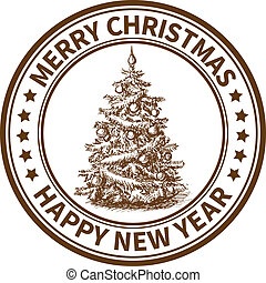 Christmas stamp - Christmas and New Year stamp with the...