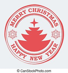 Christmas stamp of red color with the silhouette of an Christmas tree.