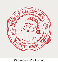 Christmas stamp with cute Santa Claus with text and snowflakes,