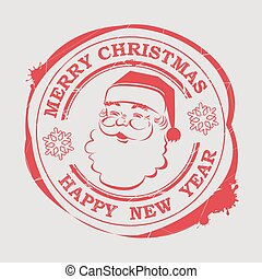 Christmas stamp with Santa Claus face with text and snowflakes