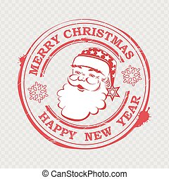 Christmas stamp with Santa Claus silhouette with text and snowflakes.
