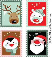 Christmas stamps - Christmas post stamps with Santa,...
