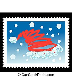 christmas stamps illustrations with santa claus hat