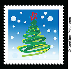 christmas stamps illustrations with abstract christmas tree.