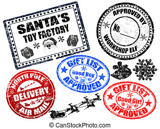 Collection of isolatet gruge Christmas stamps on white background