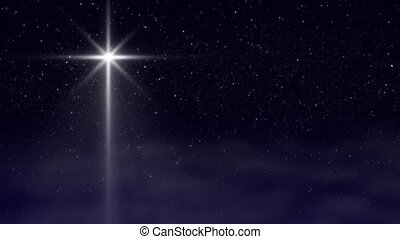 Perfectly seamless loop features Bethlehem Christmas Nativity star with hundreds of twinkling stars and passing wispy clouds.