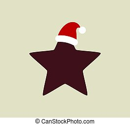 Christmas star in Santa hat.