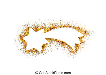 Christmas star on golden glitter isolated on white background