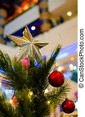 Christmas Star Ornament on a tree