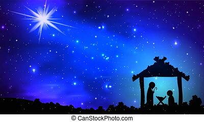 christmas star over jesus - Christmas star over jesus, art...