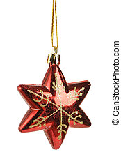 Christmas star shape toy isolated on white