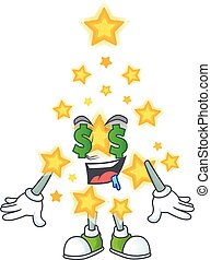 Christmas star with Money eye cartoon character design