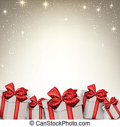 Christmas starry background with gift boxes.