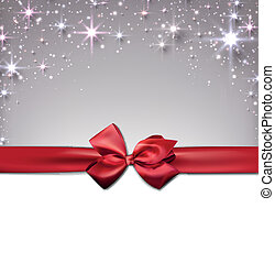 Christmas starry background with ribbon. - Silver christmas...