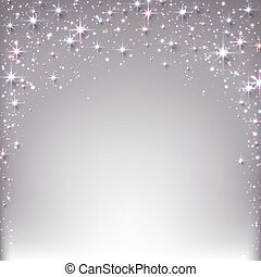 Christmas starry background with sparkles. - Silver...
