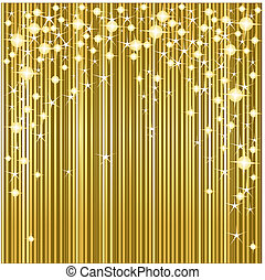 Gold Christmas background with stars and stripes