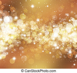Decorative Christmas background of stars and bokhe lights