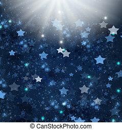 christmas stars - blue christmas stars background with light...