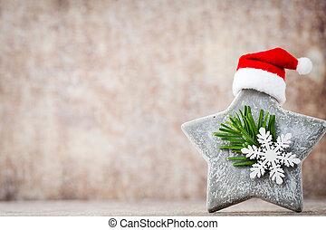 Christmas stars decoration with santa hat. Vintages...