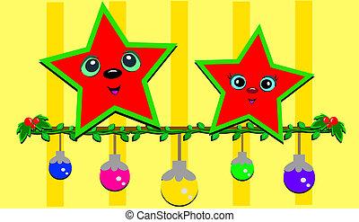 Christmas Stars on a Line of Bulbs
