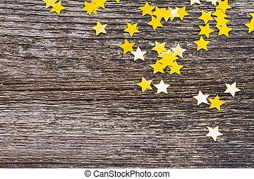 christmas stars on wood
