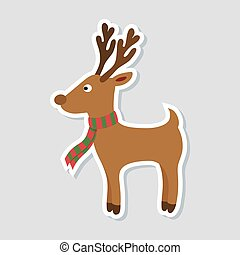 Christmas sticker. Cartoon rudolph deer with red scarf on white background. Winter icon. Vector illustration.