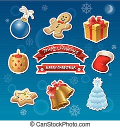 christmas stickers and icons