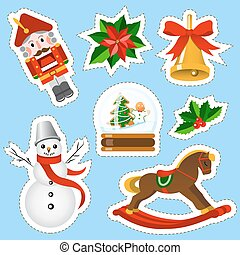 Christmas stickers set. Christmas and new year holidays stickers collection in cartoon style.