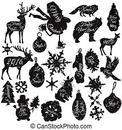 Christmas stickers set in grunge style in different shapes snowflakes deer toys snowmen bird