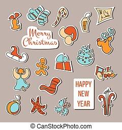 Christmas stickers vector. Christmas set poster