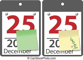 Christmas sticky note calendar year date