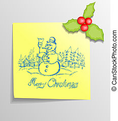 Christmas Sticky Note with Snowman