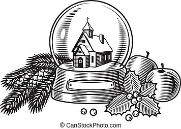 Christmas still life in woodcut style. Black and white vector illustration.