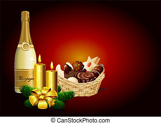 Christmas still life - Christmas cookie, champagne and candle on dark background