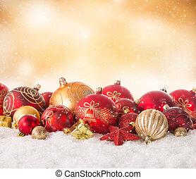 Christmas still life - Christmas decoration on snow with...