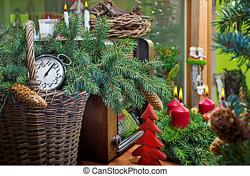 Christmas Still Life with Advent Wreath and Old Radio