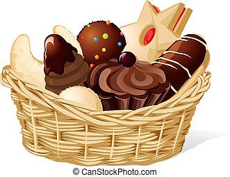 Christmas still life with basket full of cookies isolated on...