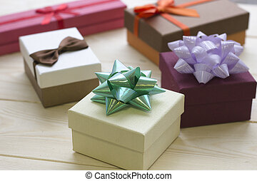 Christmas still life with gift boxes