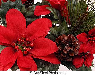 Christmas - Close up of craft fabric Christmas arrangement....