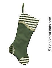 Christmas Stocking - 3D digital render of a green Christmas...