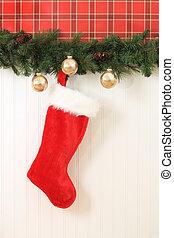 Christmas stocking. - Christmas stocking hanging on the...