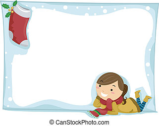 Christmas Stocking - Illustration of a Girl Staring at a...