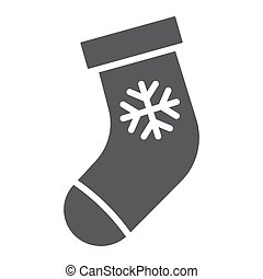Christmas stocking glyph icon, christmas and winter, sock sign, vector graphics, a solid pattern on a white background.