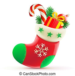 Christmas stocking - Vector illustration of shiny red...