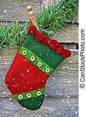 Christmas stocking in snowflakes