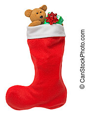 Christmas stocking isolated on white - Red Christmas...