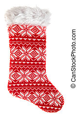 Christmas stocking. Knitted red sock for gifts