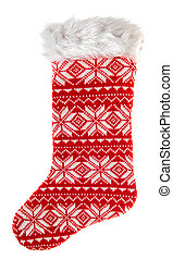 christmas stocking. knitted sock for gifts. winter holidays symb